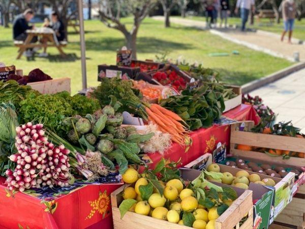 étal de fruits et légumes en entreprise